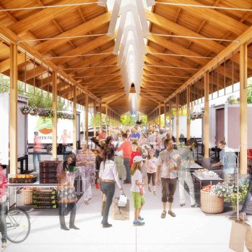 Arists rendering of people in the farmers market shed